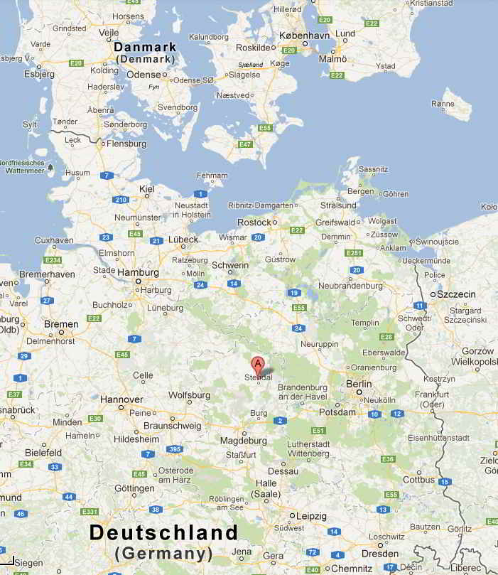 Map, Danish Supermoto Riders in Stendal - Germany June 29-July 1st 2012