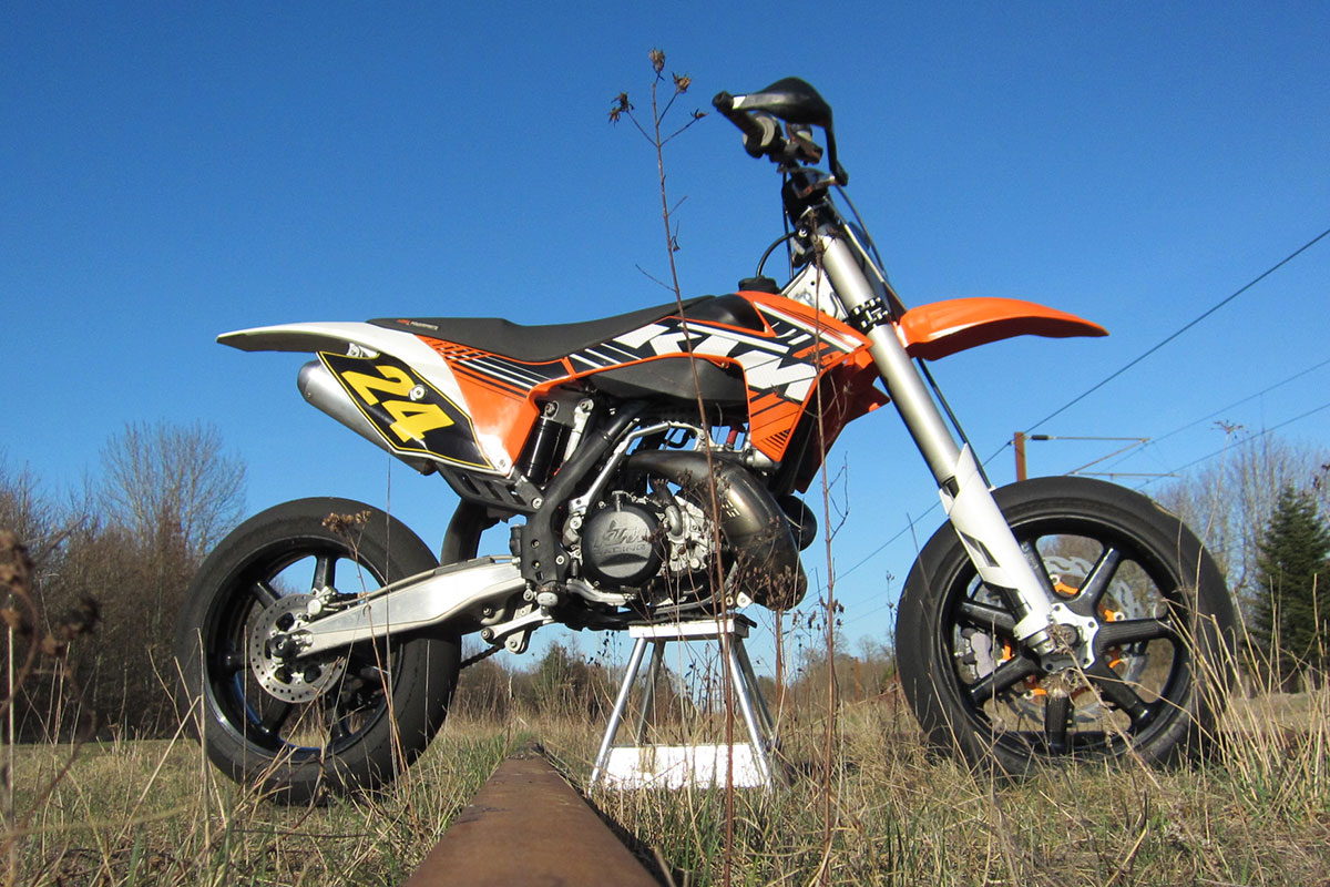 Supermoto KTM 380 Motor in SX250 Frame. Custom Build & Raced By Andreas #24 Mikkelsen, Denmark 2013.
