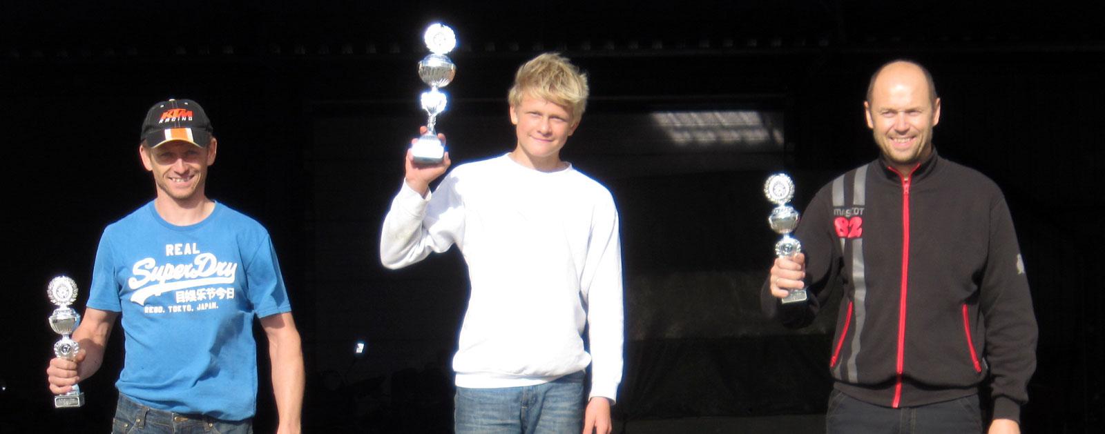 Supermotard Danmarksmesterskab SM A Nørresundby August 2014 1. Simon Winther 2. Andreas Mikkelsen 3. Brian Jensen